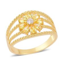 CANARY YELLOW WHITE DIAMOND SIMULATE 14K YELLOW GOLD OVER STERLING OPEN RING 7