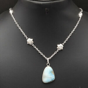"""Natural Larimar Silver Plated Chain Necklace 22"""" Gemstone Jewelry W6680"""