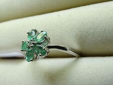 Natural zambiano Emerald e topazio GRAPPOLO fiorale Platino/925 dimensioni dell'anello T
