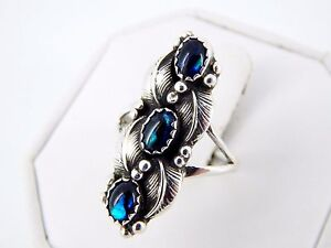 Vintage Sterling Silver Detailed Paua Shell Ring Size 8