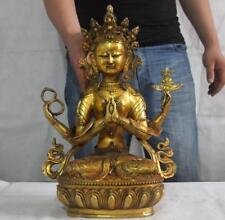 18 Tibet Copper bronze Gild Four arms kwan-yin GuanYin Bodhisattva buddha statue