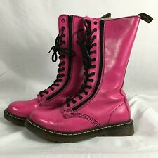 Doc Martens Dr. Pink Combat Boots Mid-Calf US Women's Sz 10 Leather Lace-up