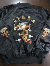Vintage Korea Black Satin Embroidered Asian Dragon Bomber Jacket Rockabilly XL