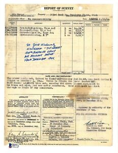Jack Widowsky Signed Report of Survey Document BAS D87718 B-29 Top Secret