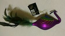 Christmas Holiday Peacock Bird Blue Green Purple Feather Ornament