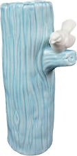 "Hoff Interieur 7874 Vase "" Wren "" Ø 11 x 23 cm Ceramic Blue with Bird"