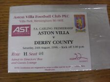 24/08/1996 Ticket: Aston Villa v Derby County [Directors Box & Guests Lounge]. T
