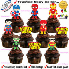 30 x LARGE Superhero Super heros STAND UPS Edible cup cake toppers Decorations