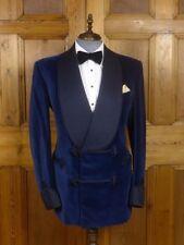 Men's Blue Velvet Quilted Smoking Blazer Wedding Party Wear Dinner Jacket Coat