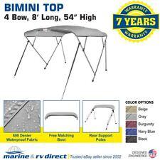 "New Pontoon  Bimini Top Boat Cover 4 Bow 54"" H 85"" - 90"" W  8 ft. Long Gray"