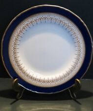 """Royal Worcester Fine Bone China Blue & Gold Regency Salad/Desert plate 8"""" 20cm"""