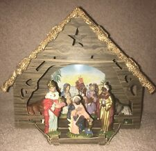 Vintage Italy Paper Mache Jesus Figures Nativity Christmas Holiday Set W/Manger