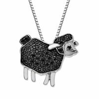 1/4 ct Black Diamond Sheep Pendant in Sterling Silver