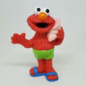 Vintage Elmo Beach PVC Figure Sesame Street Applause Cake Topper Conch Shell
