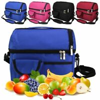 For Men Women Double Deck Lunch Bag Dual Compartment Work Office Insulated Bag