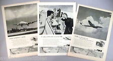 TWA Trans World Airlines PRINT AD - 1953 - LOT of 3 diff. ads