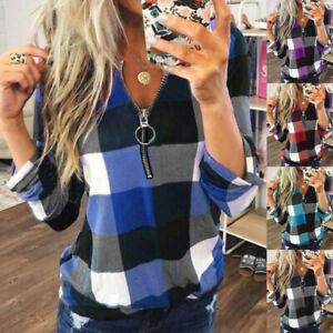Womens Blouse Ladies Basic Plaid Tee Sweatshirt Long Sleeve Loose Zipper Tops