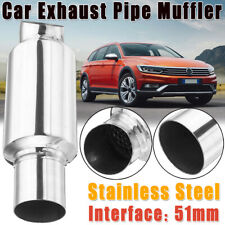 2inch Inlet Universal Car Muffler Exhaust Silencer Tail Pipe Tip Silencer