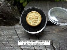 Old Rare Vintage Antique Civil War Relic Gold Gilted Flower Button Button Case