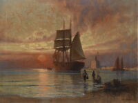 Art Oil painting seascape Fishermen on the beach & big sail boat ship in sunset