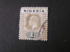 NIGERIA, SCOTT # 8c. 1/- VALUE OLIVE BLACK 1920 KGV ISSUE USED