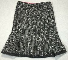 EXPRESS Black/Grey Size 2 Tweed Boucle Pleated Wool Skirt w/ Sequined Lace Hem