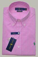 New S M L XL POLO RALPH LAUREN Men button down Shirt pink checks Long Sleeve