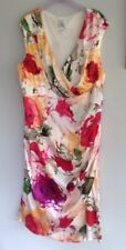 Suzi Chin for Maggy Boutique Cream Orange Red Green Faux Wrap Silk Dress Sz 16US