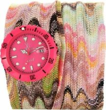 ToyWatch Women's Pink Dial Multi-Color Fabric Strap Quartz Watch M06PS