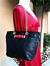 NEW $800 Cute RED VALENTINO Black Leather Shoulder Bag with Red Bow & Gold Chain