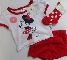 DISNEY Minnie Mouse 3pc Pantaloncini Set-Ragazze BAMBINO NUOVA T-Shirt Calzino Set ~ 9-12 mesi