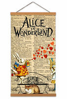 Alice In Wonderland Upcycle Canvas Wall Art Print Poster with Hanger 24x12 Inch