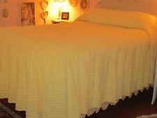 Linen Source Chenille Drop Ruffle Lemon Yellow Bedspread Queen Stunning!