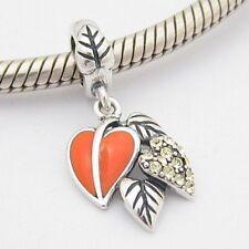 AUTUMN FALL LEAVES DANGLE CHARM Bead Sterling Silver.925 4 European Bracelet 571