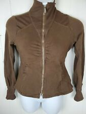 Xcvi Top Size L Brown Zipper Front Long Sleeve Cardigan Sweatshirt