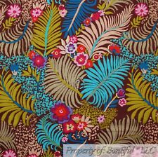 BonEful FABRIC FQ Cotton Quilt Brown Blue Green Feather Leaf Tree Branch Flower