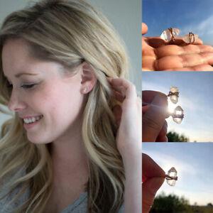 Natural Cone Clear Quartz Crystal Stone Wrap Earrings Irregular Ear Stud Winding