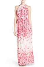 7edb77dd600f Eliza J Print Pleated Chiffon Maxi Dress PINK Petite Size 8P
