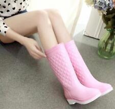 Women Mid-calf Low Heel Block Rainboots Combat Plaid Korean Style Pull-on Shoes