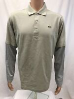 NWT Lacoste Sport Mens long sleeve 100% Cotton Golf Polo Shirt, Gray, size 4/M