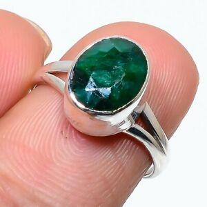 Indian Emerald Gemstone Handmade 925 Solid Sterling Silver Jewelry Ring Size 7