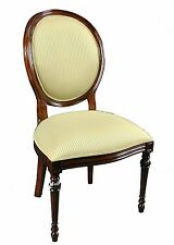 Set of 8 Upholstered Oval Back Mahogany Wood Classic Dining Side Chairs