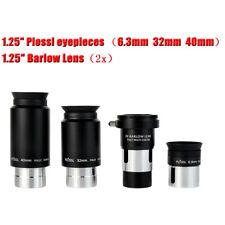 "1.25"" 6.3/32/40mm Plossl Eyepieces Set+2x Barlow Lens 4-Element for Telescope"