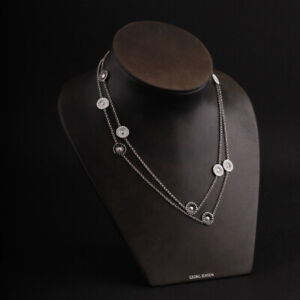 GEORG JENSEN Sterling Necklace w. White / Black Enamel. Rhodinated Silver Daisy.