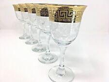 Crystal Glass Set of 6 Wine Champagne Water Glasses 8 oz Gold  Greek Key Design