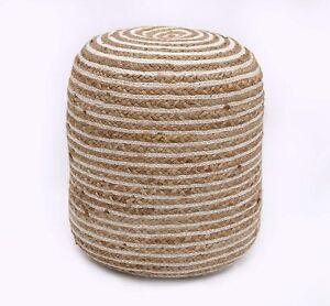 Pouf Cover Jute Cotton Hand Braided Ottoman Floor Decor Pouffe Living Foot Stool