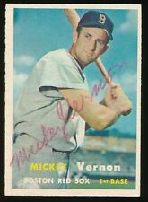 1957 Topps #92 MICKEY VERNON (Boston Red Sox) d.2008 *AUTOGRAPHED* Future HOF