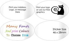 Gloss White Address Labels Personalised Ovals envelope Stickers customised x100