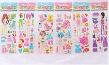 3D Kids Crafts wall cars Stickers lot  Dress up princess PVC Puffy Birthday Gift