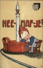 Hee-Maf-Je Heemaf-Je Dutch Electrical Co Boy Sleeps Lamp Light Postcard RARE!